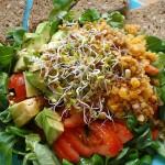 Здравословна салата с домати, авокадо, босилек и леща